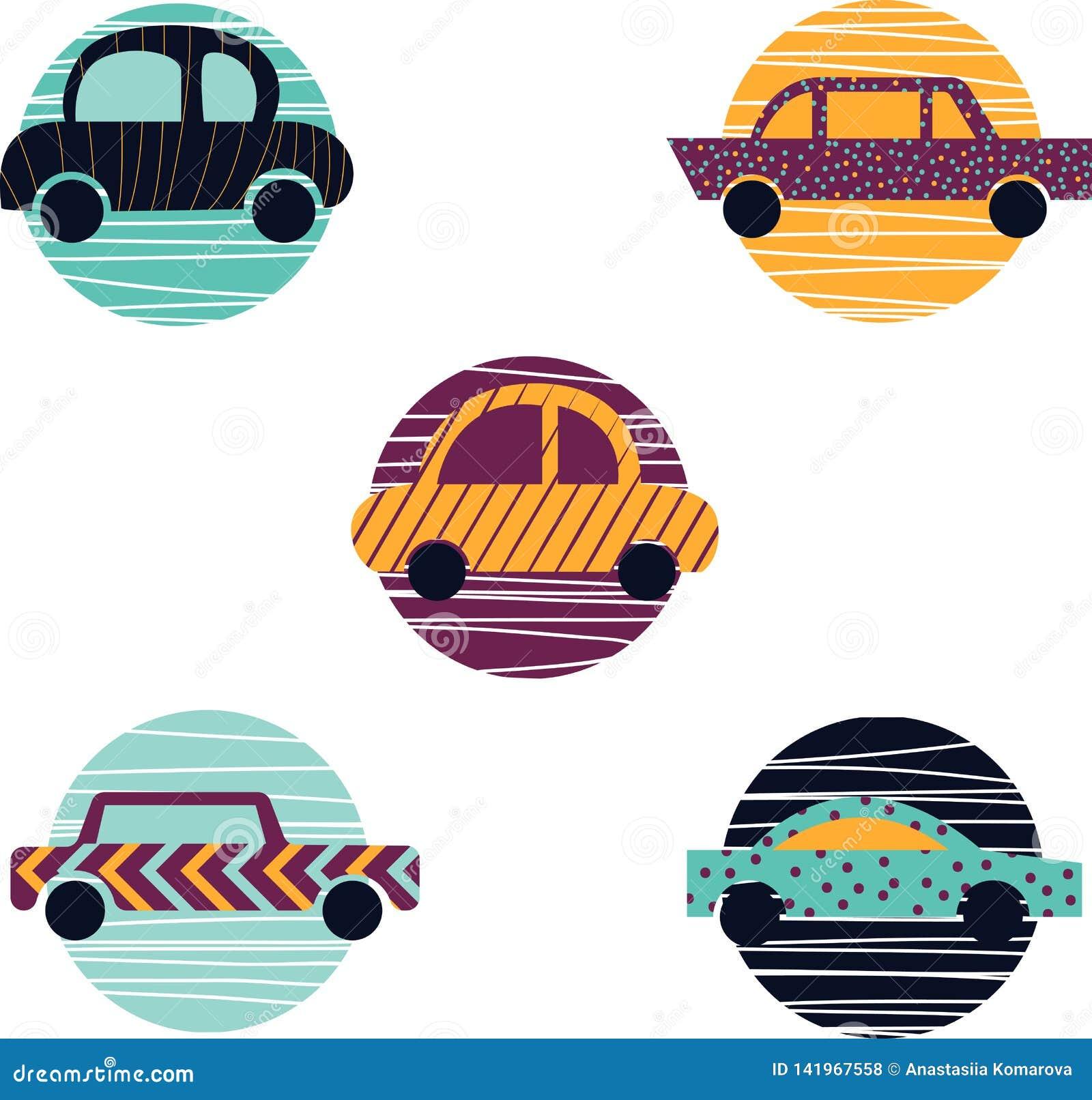 Colección de cinco coches Automóvil moderno en el diseño plano