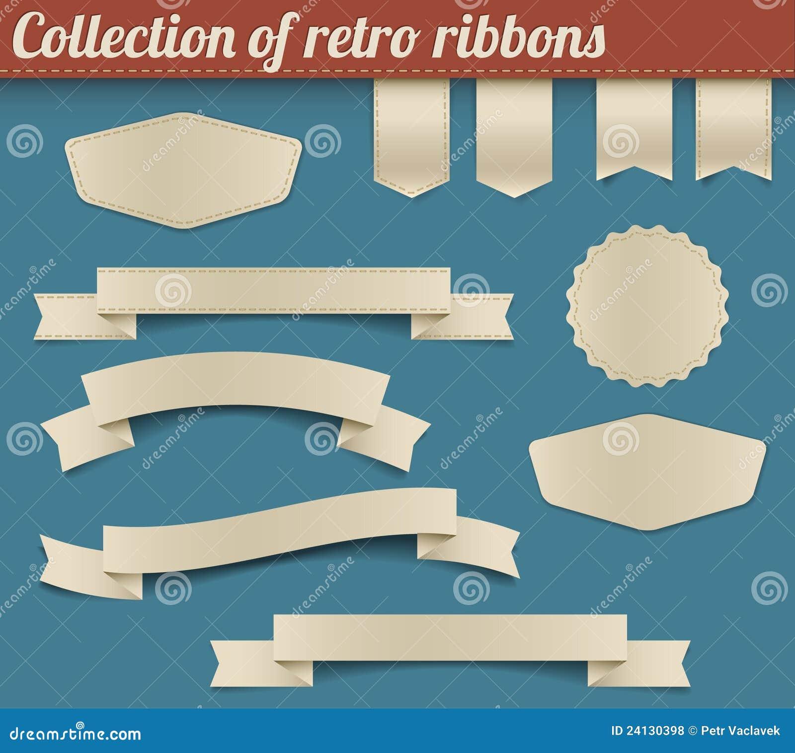 Colección de cintas y de etiquetas retras del vector