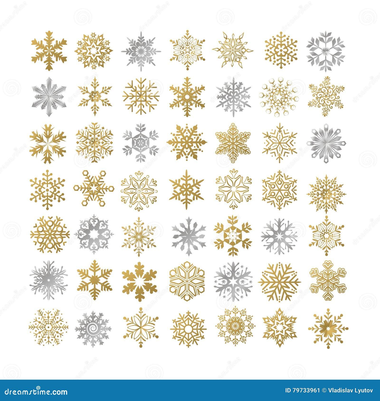 Colección de copos de nieve de los copos de nieve del vector, grises y de oro