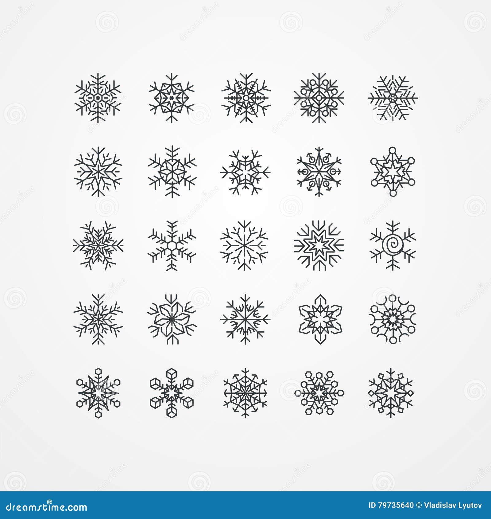Colección de copos de nieve negros en un fondo blanco