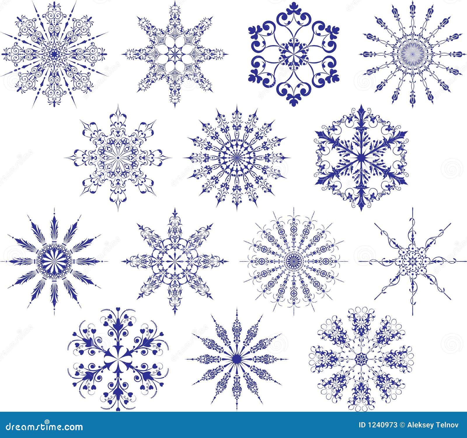 Colección de copos de nieve, vector
