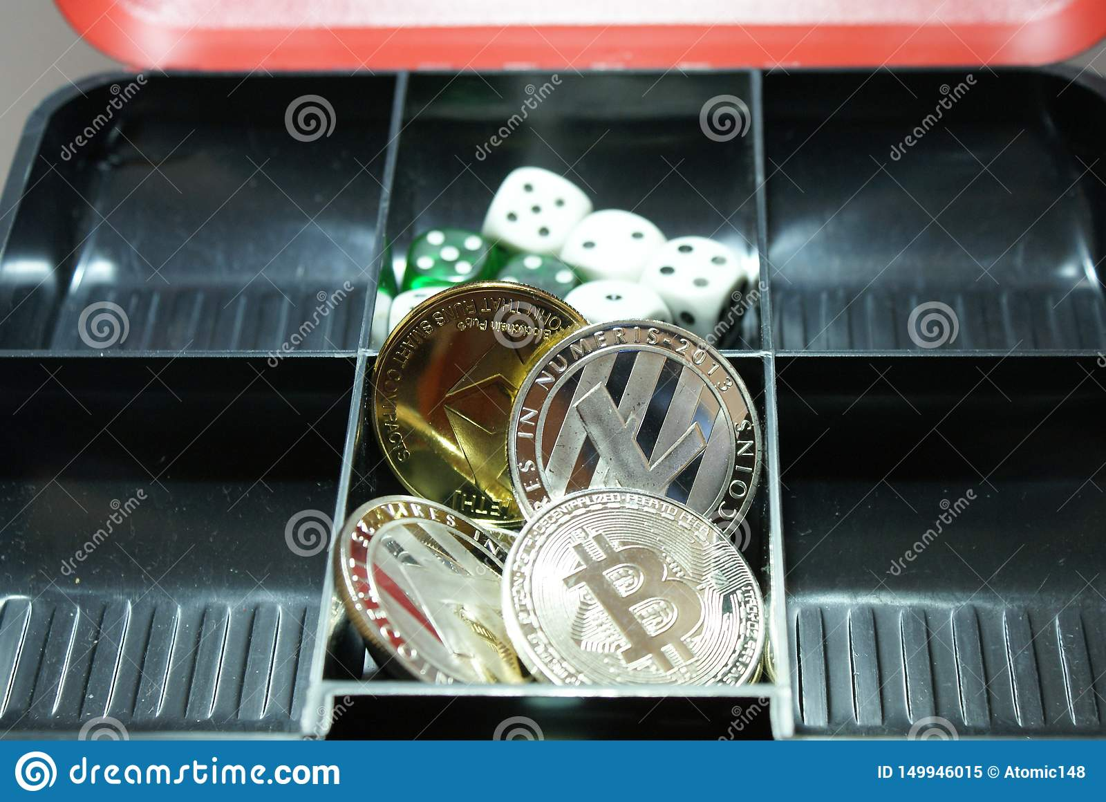 Colección de cryptocurrency en un lockbox