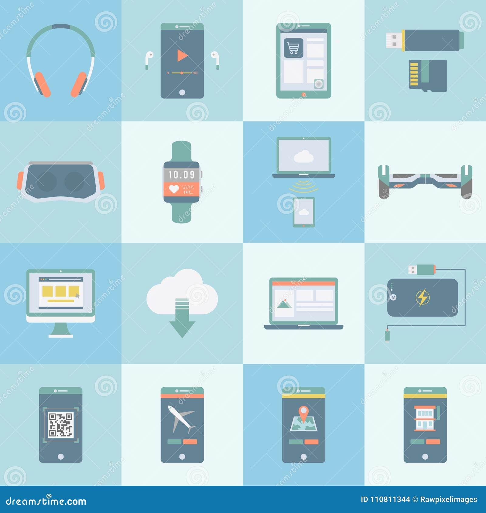 Colección de dispositivos digitales del ejemplo de la tecnología