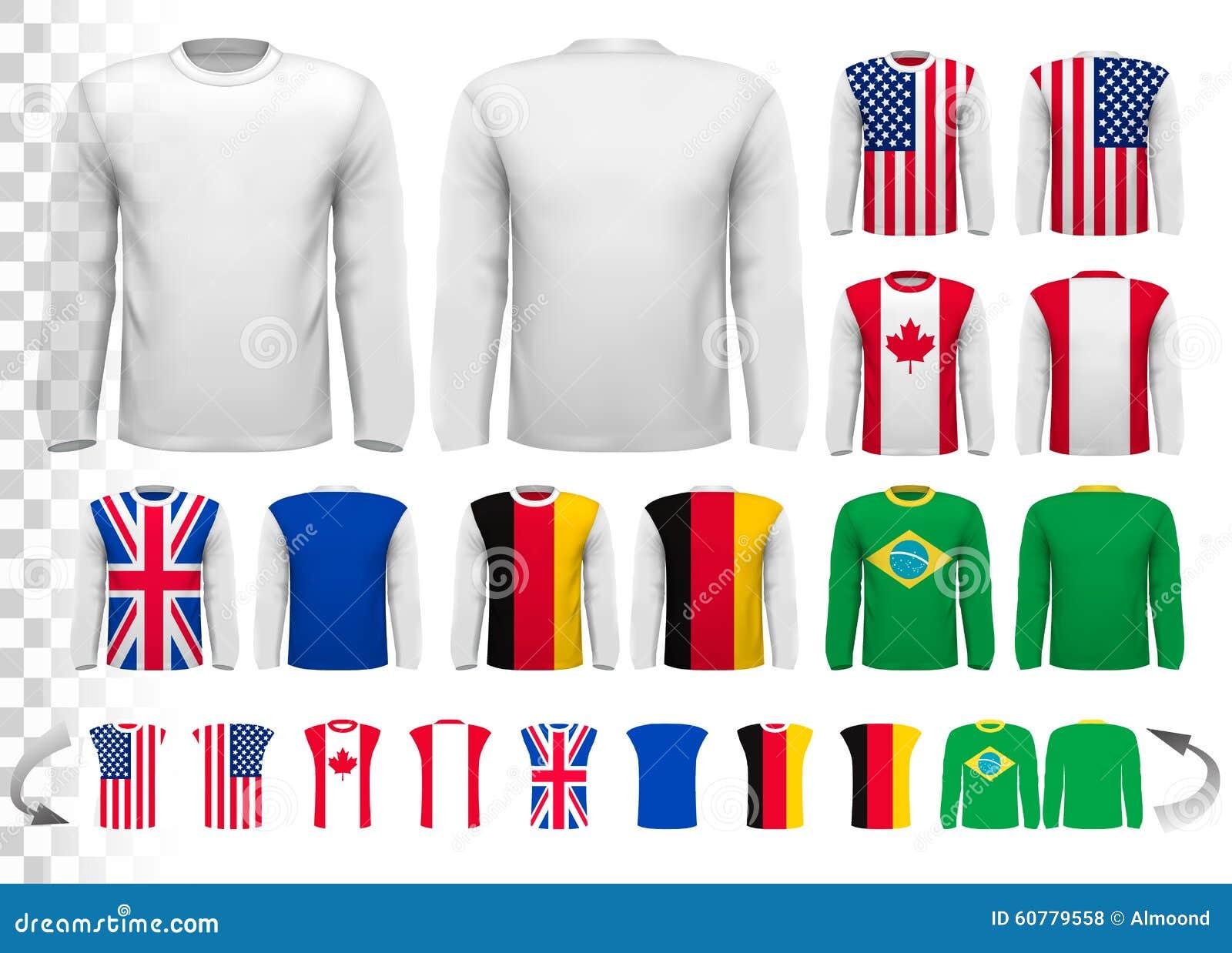 Colección de diversas camisas con mangas largas masculinas