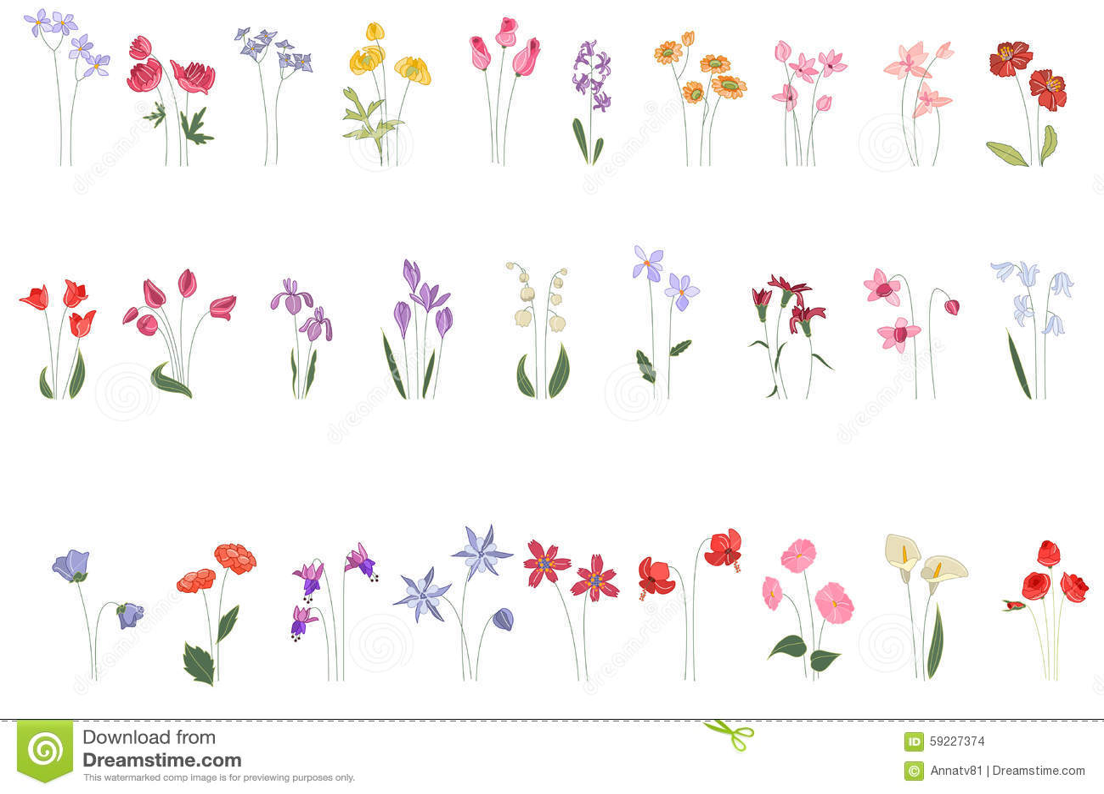 Colección de diversas flores estilizadas en blanco