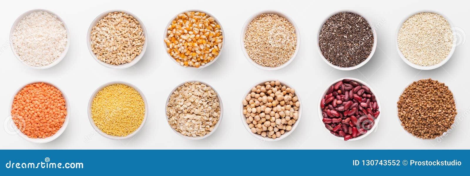 Colección de diversos granos y habas en cuencos