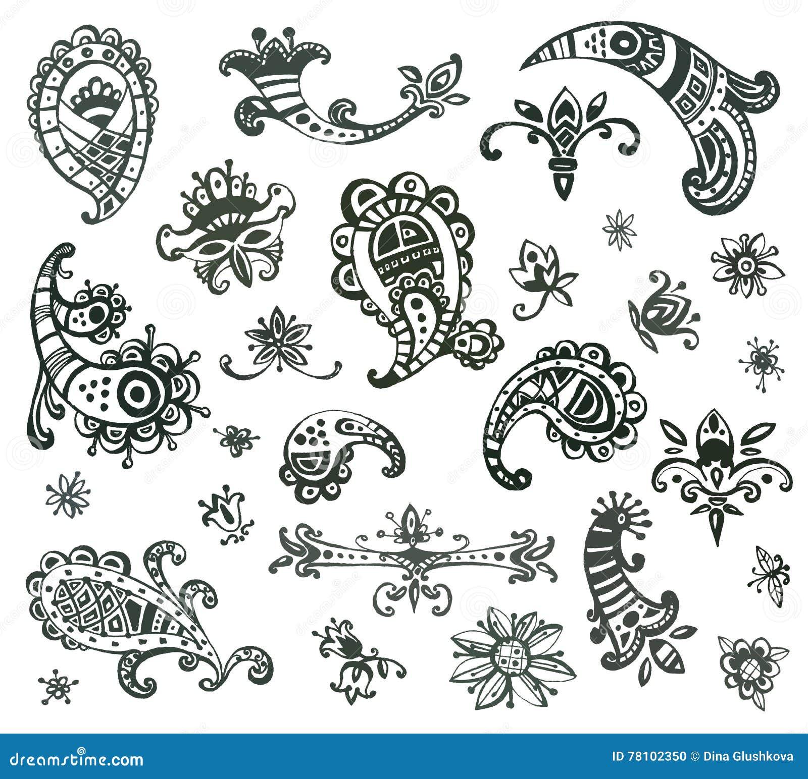 a643a6fe1c10b Colección de elementos decorativos monocromáticos dibujados mano del vector