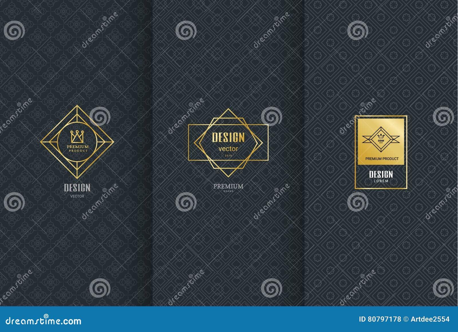 Colección de elementos del diseño, etiquetas, icono, marcos, para empaquetar,