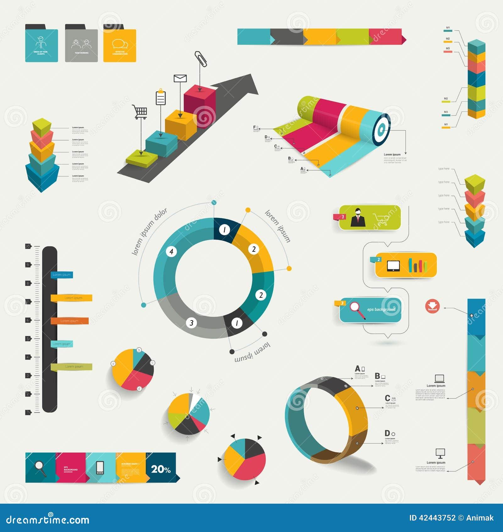 Colección de elementos infographic planos coloridos