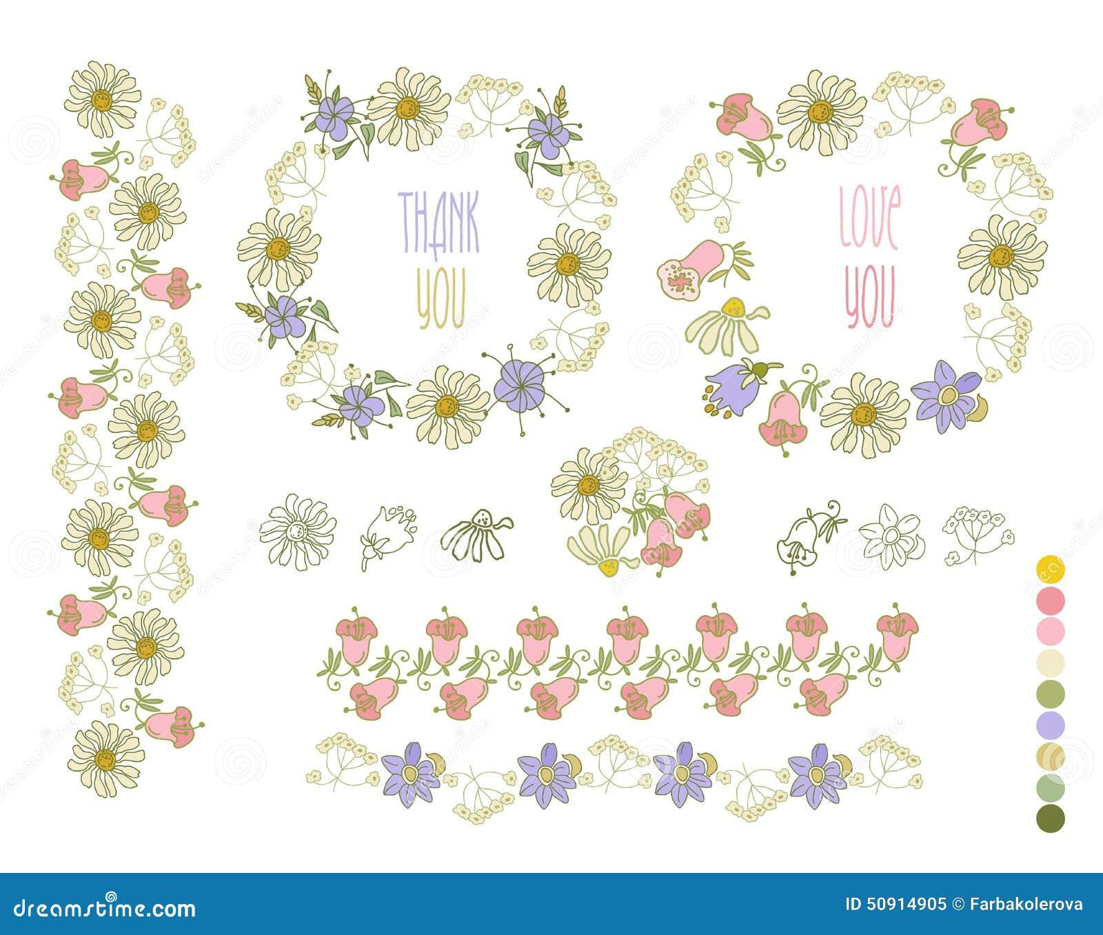 Colección De Flores Dibujadas Mano Elementos Para Su Diseño ...