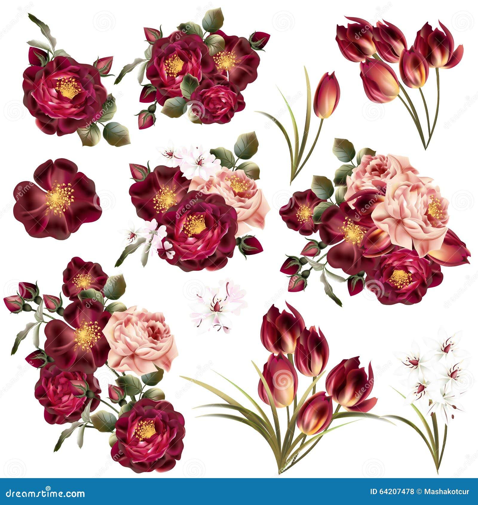 Colección de flores en colores pastel realistas