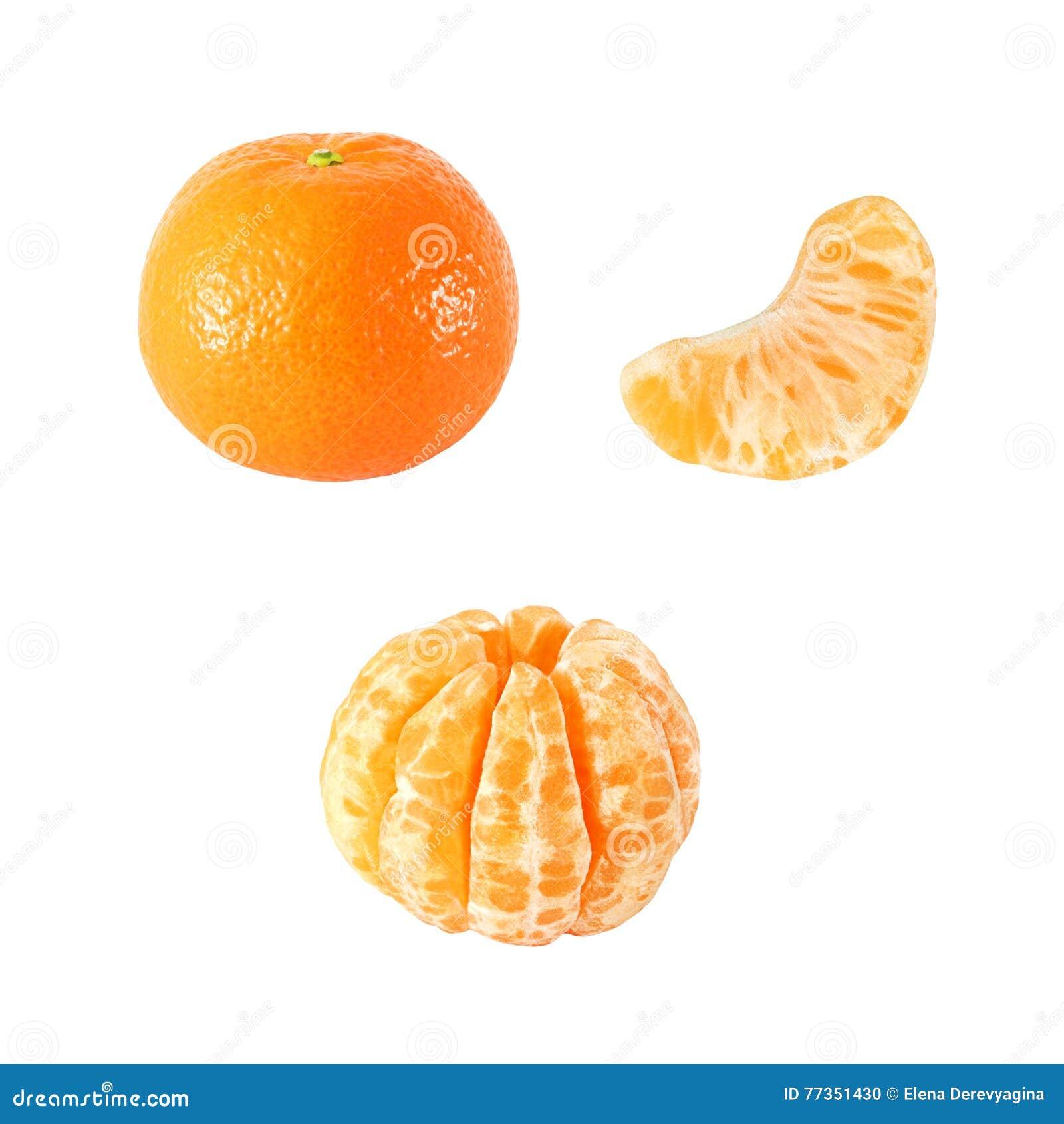 Colección de frutas enteras y peladas de la mandarina aisladas con la  trayectoria de recortes 638a222ee626