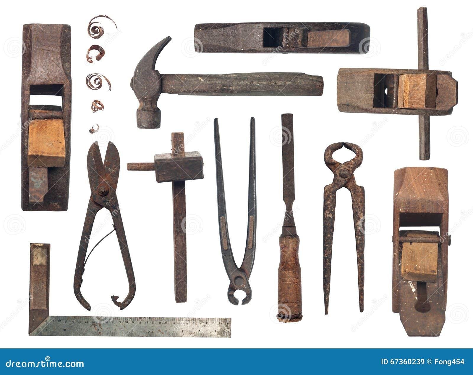 Colecci n de herramientas antiguas de la carpinter a en el - Herramientas de campo antiguas ...