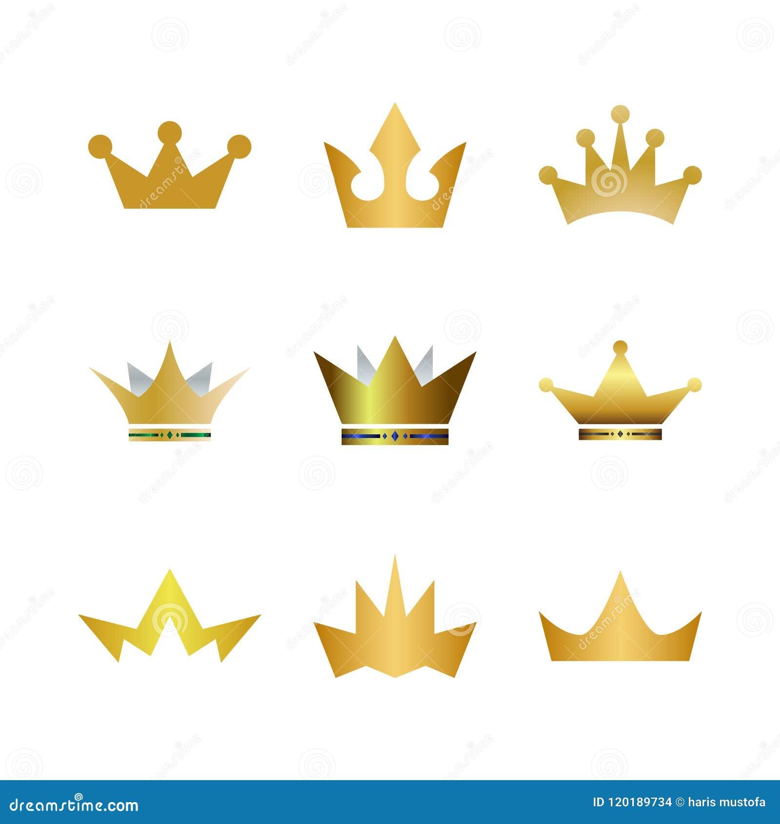 Colección De Icono Del Logotipo De La Corona Del Oro Ilustración del ...