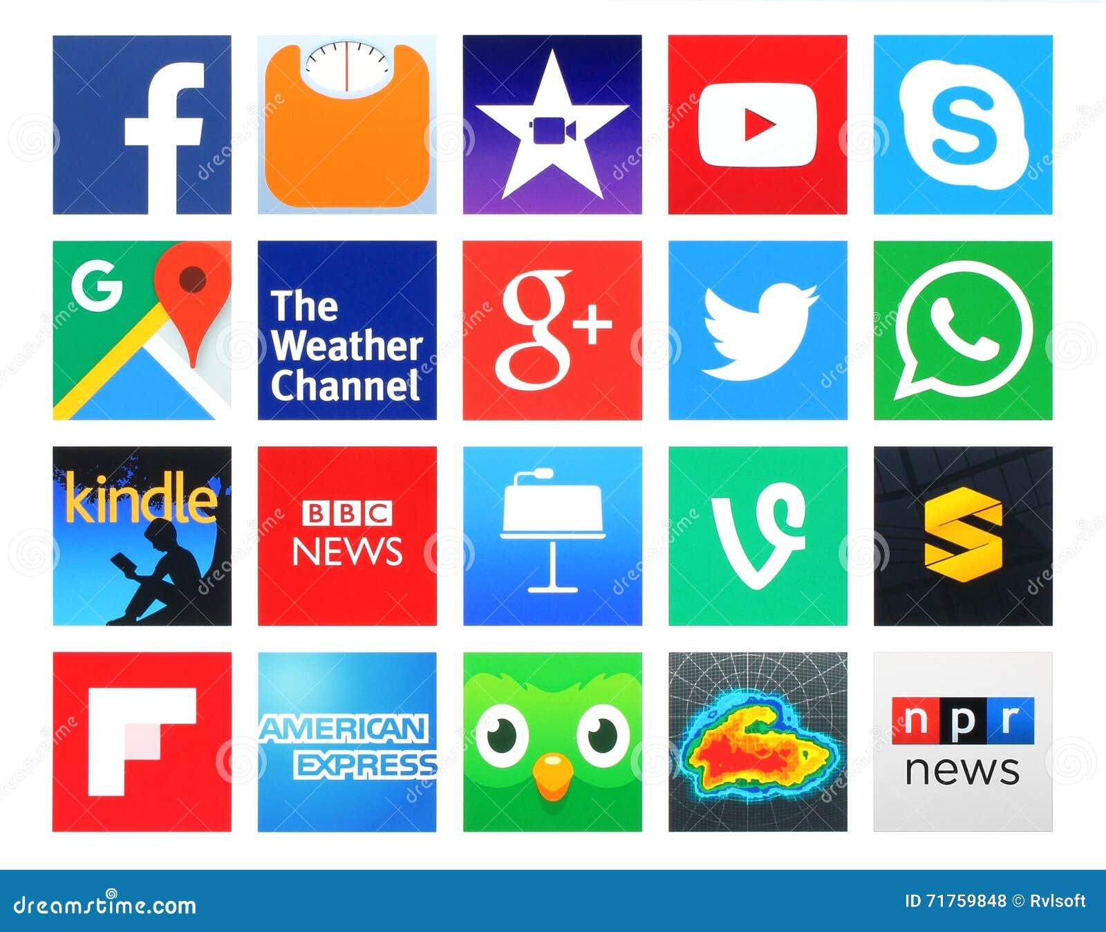 119729a9bb234 Colección de 20 iconos cuadrados populares del establecimiento de una red  social
