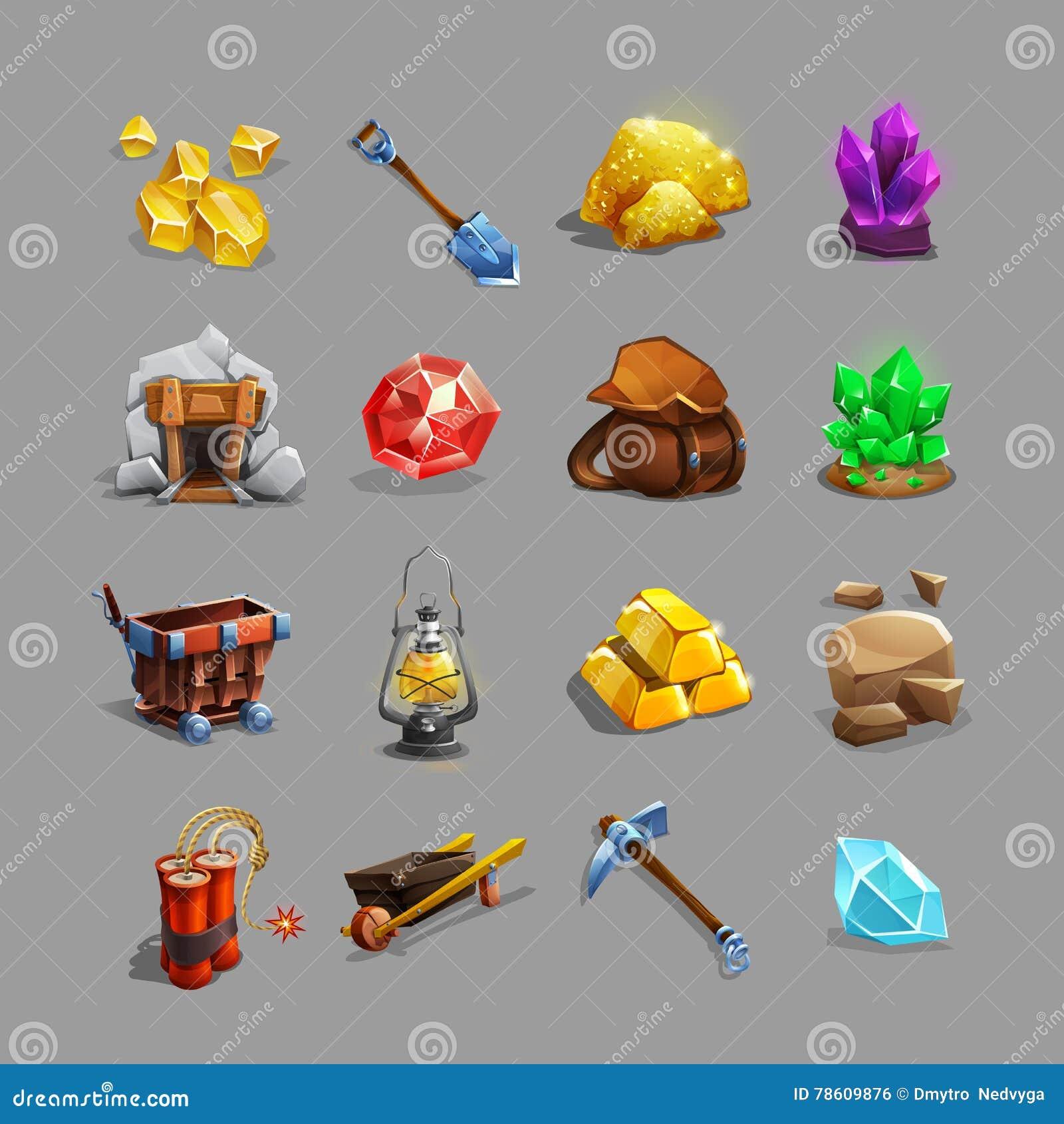 Colección de iconos de la decoración para el juego minero de la estrategia Sistema de herramientas, de piedras, de cristales, de