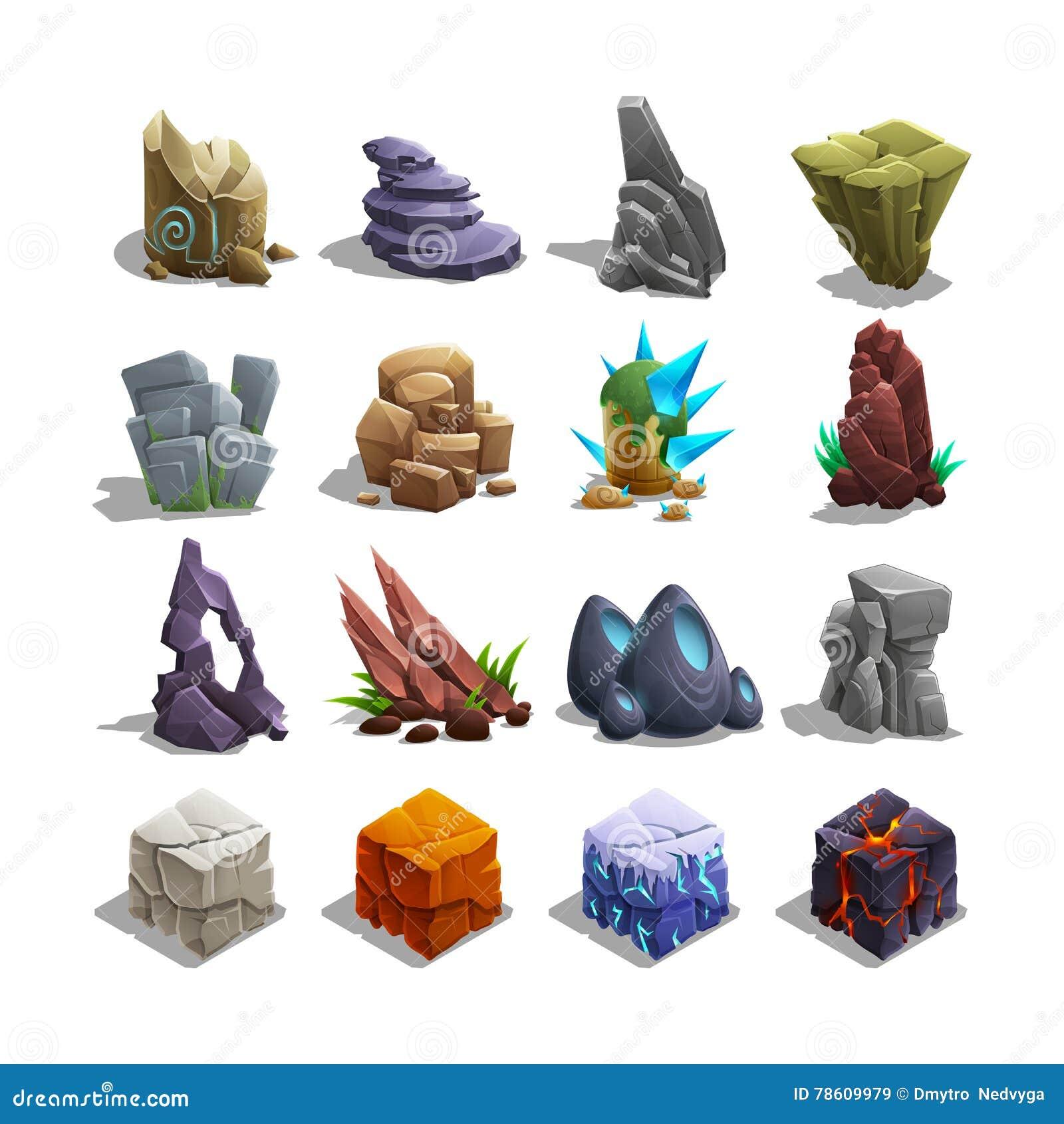 Colección de iconos de la decoración para los juegos Sistema de piedras de la historieta