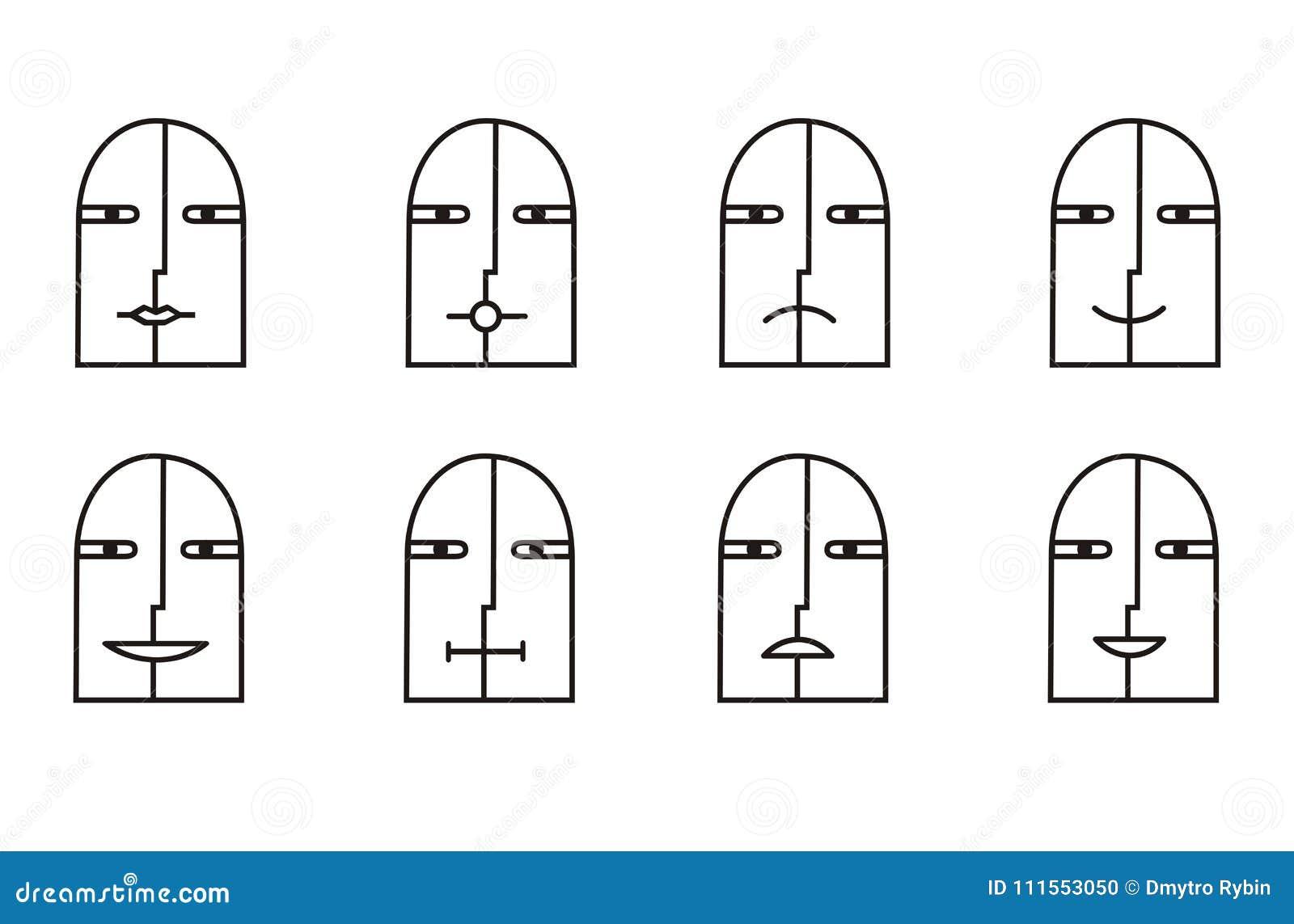 Colección de 8 iconos sonrientes en blanco y negro pictogram