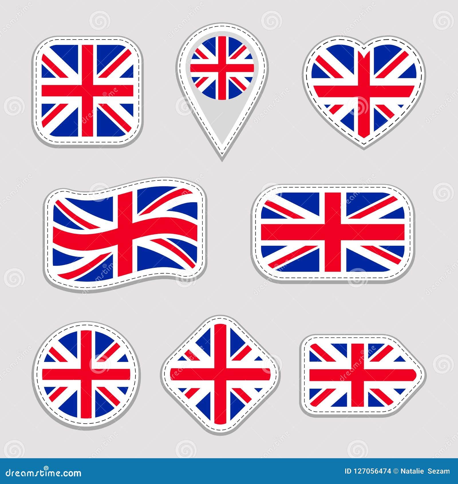 Colección de la bandera de Gran Bretaña Vector las etiquetas engomadas de las banderas nacionales de Reino Unido fijadas Colores