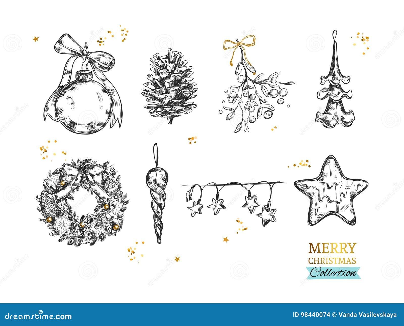 Colección de la Feliz Navidad con los ejemplos dibujados mano del vector Bola de la Navidad, cono del abeto, muérdago, estrella c