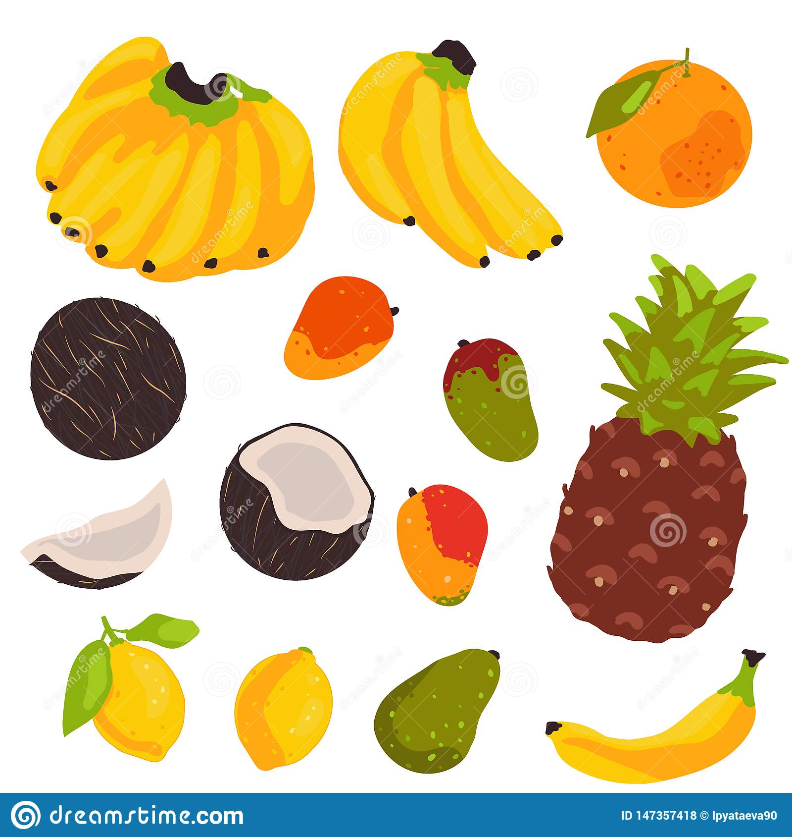 Colección de la fruta tropical aislada en el fondo blanco