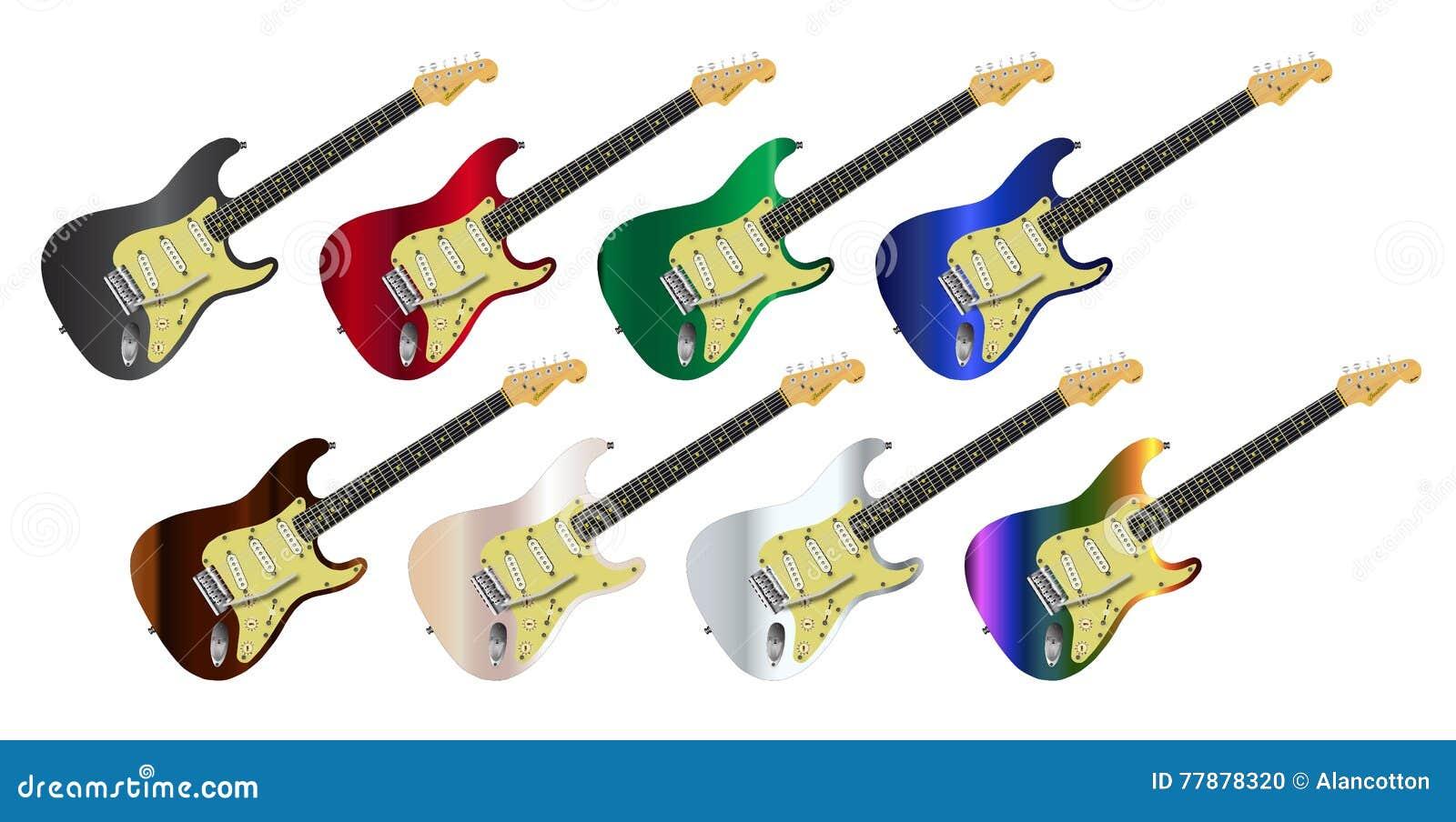 Colección De La Guitarra Eléctrica Ilustración del Vector