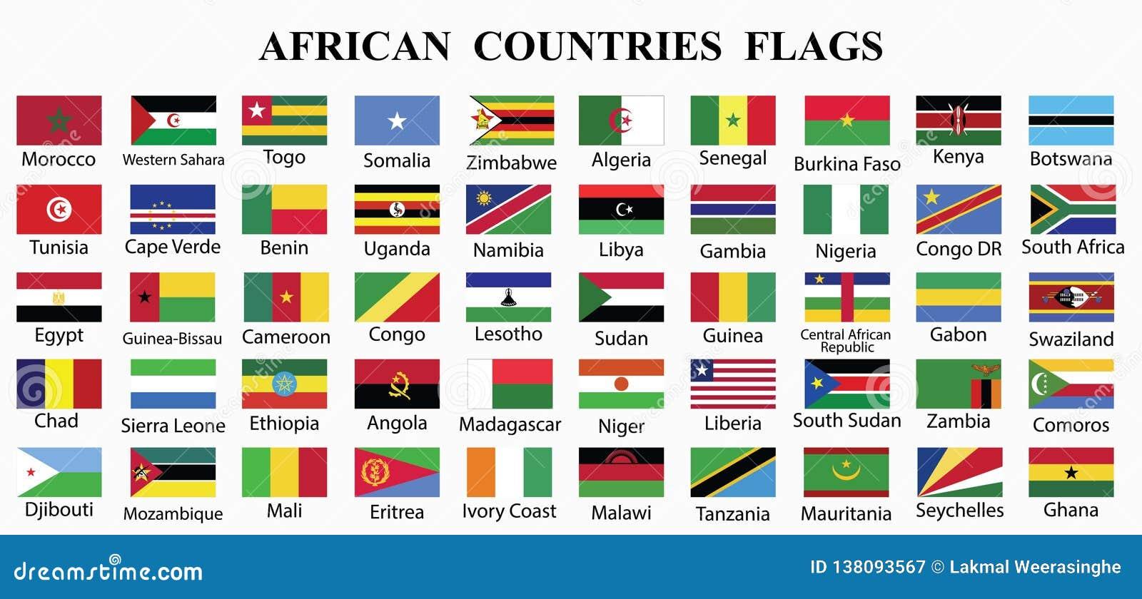 Todos los paises de africa y sus banderas