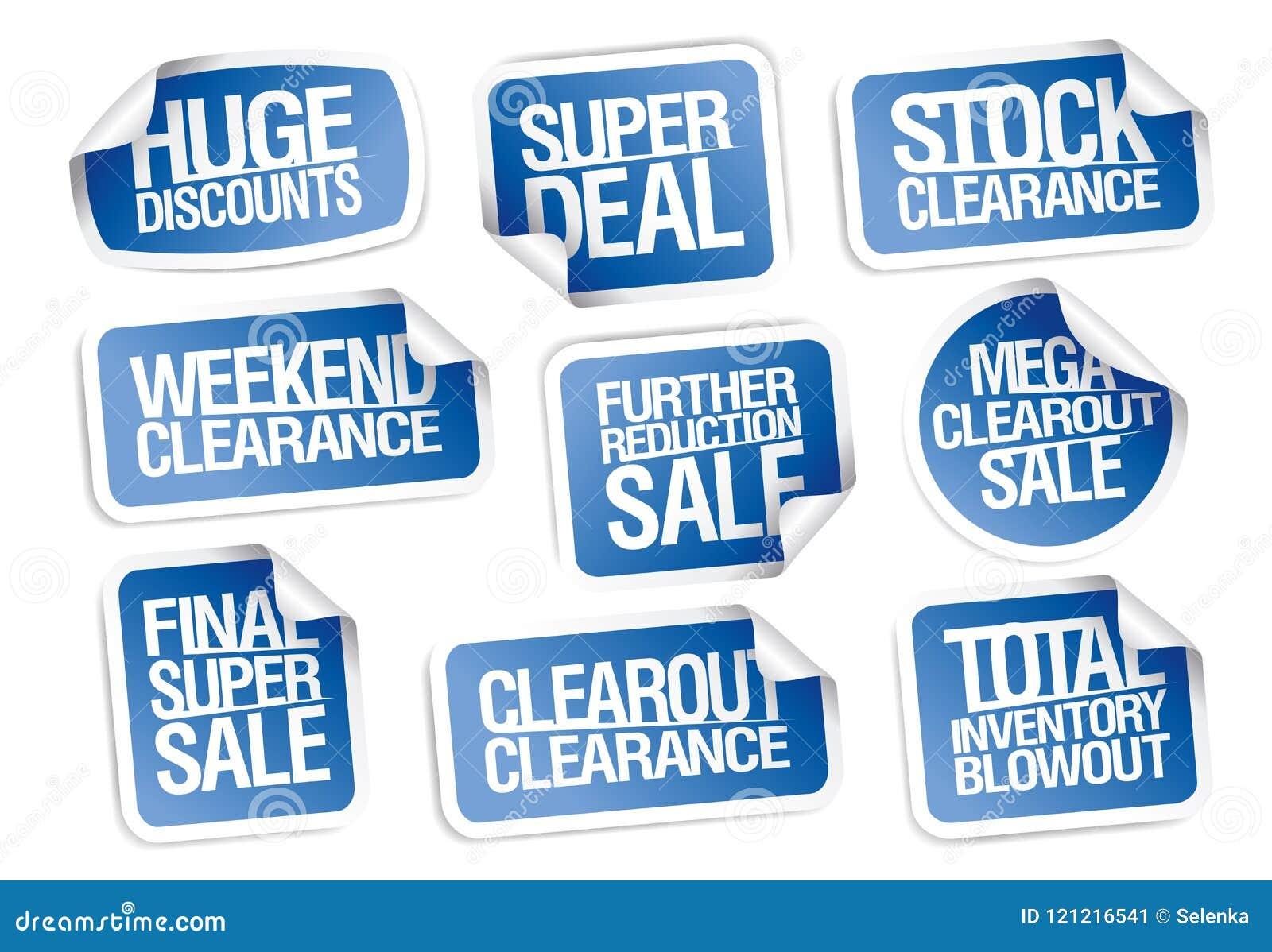 Colección de las etiquetas engomadas de la venta - descuentos enormes, super oferta, liquidación