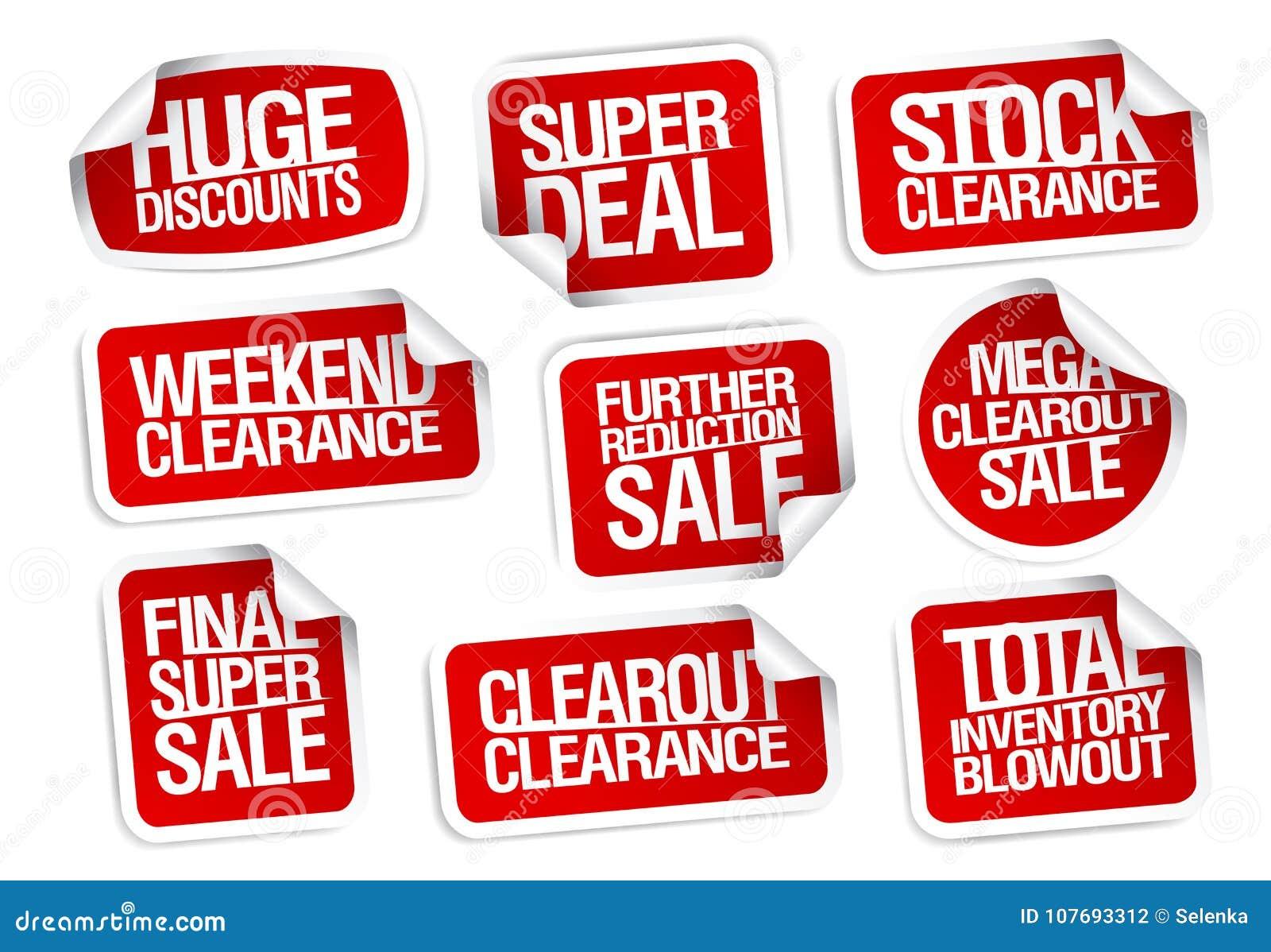 Colección de las etiquetas engomadas de la venta - descuentos enormes, super oferta, liquidación común