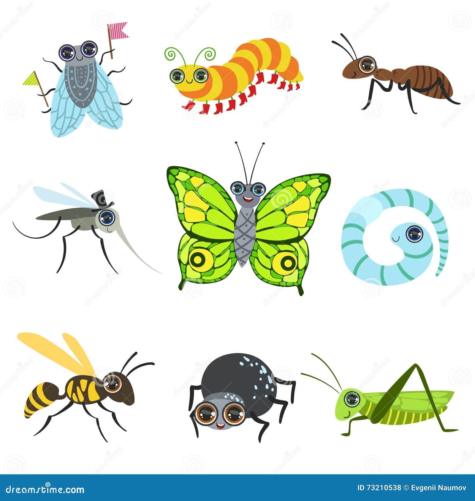 Colección de las imágenes de la historieta del insecto