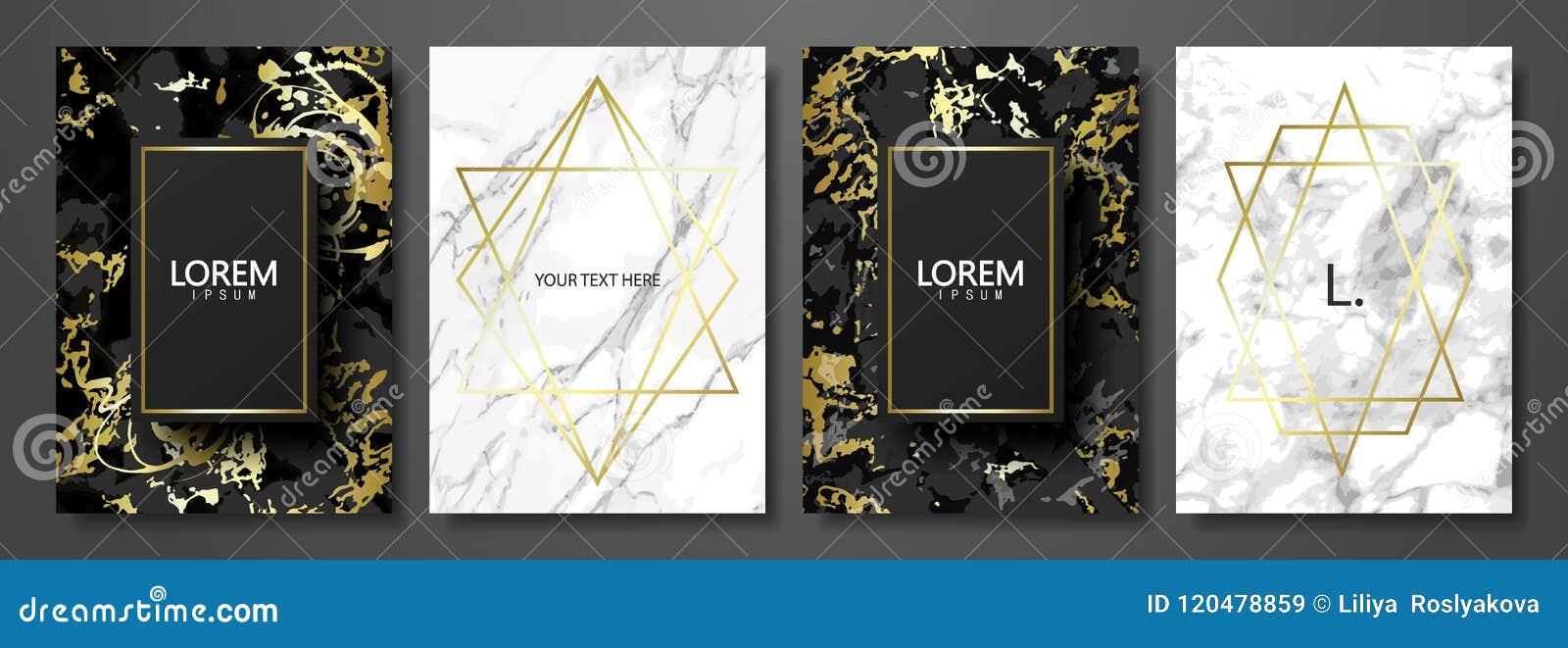 Colección de las tarjetas del lujo con la textura de mármol y la forma geométrica del oro Fondo de moda del vector Sistema modern