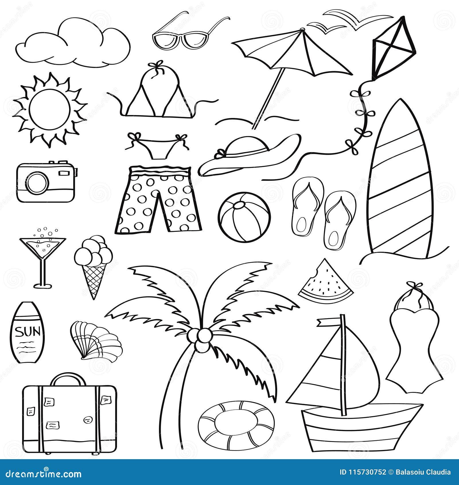 Colección De Las Vacaciones De Verano De Los Artículos De La