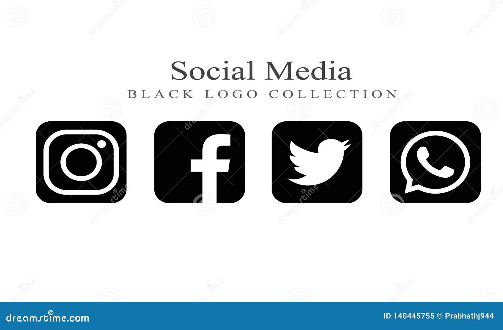 Colección de logotipos sociales de los medios en color negro