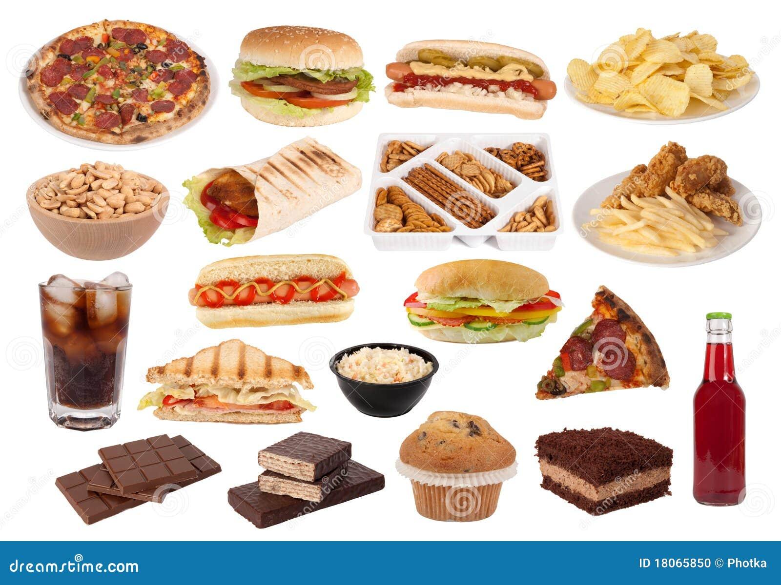 Colección de los alimentos de preparación rápida y de los bocados