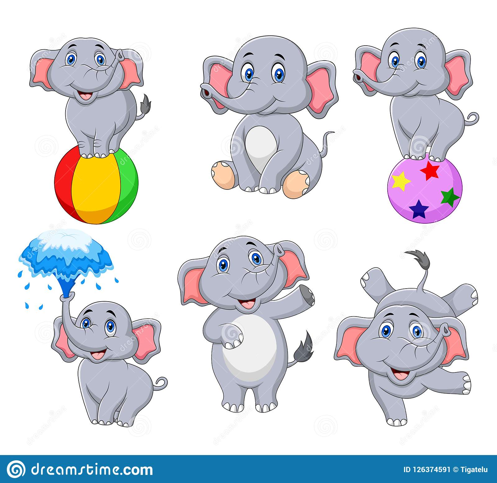 Colección de los elefantes de la historieta con diversas acciones