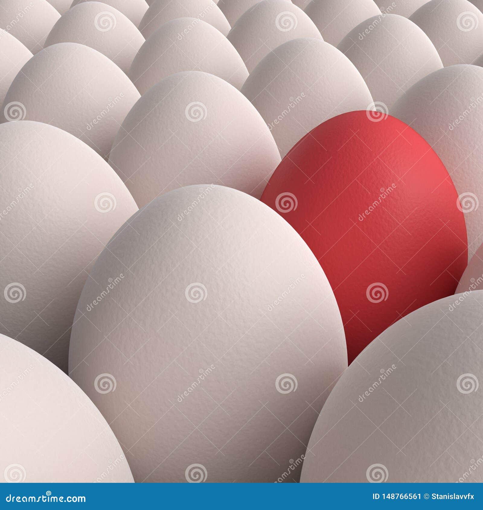 Colecci?n de los huevos con un huevo rojo