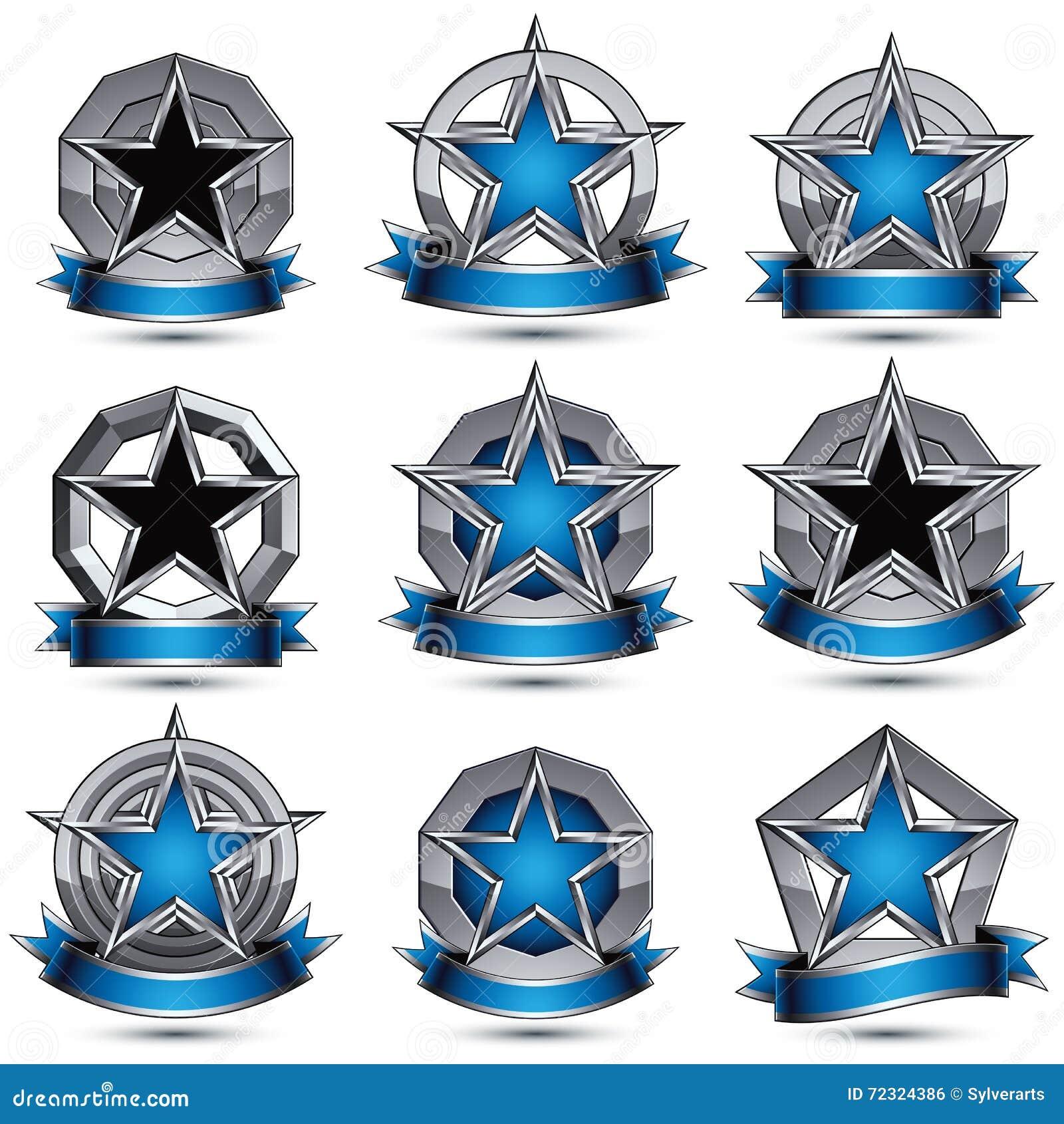 Colección de los iconos atractivos heráldicos redondos grises 3d, gra de plata