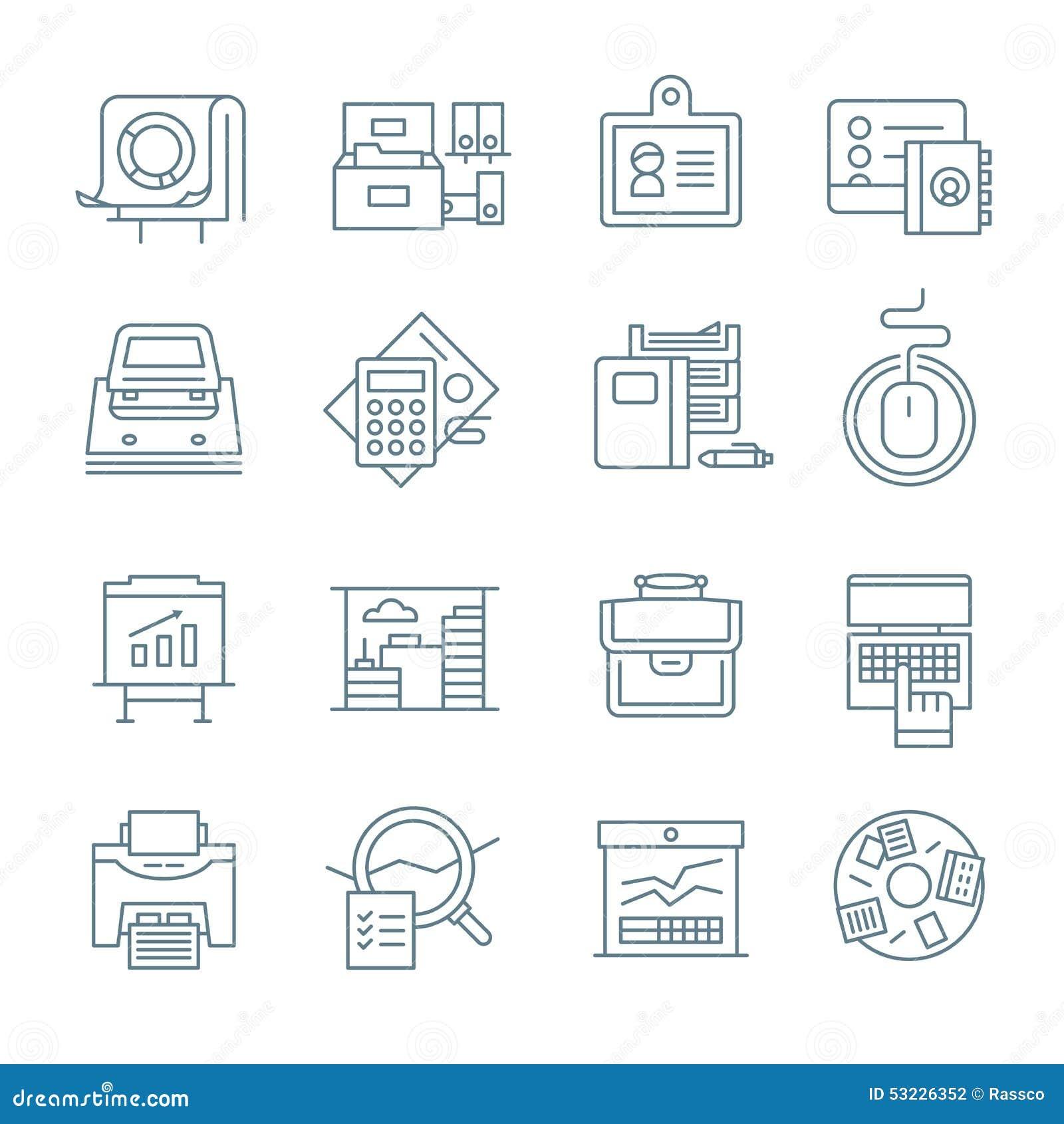 Colección de los iconos de la vida de la oficina