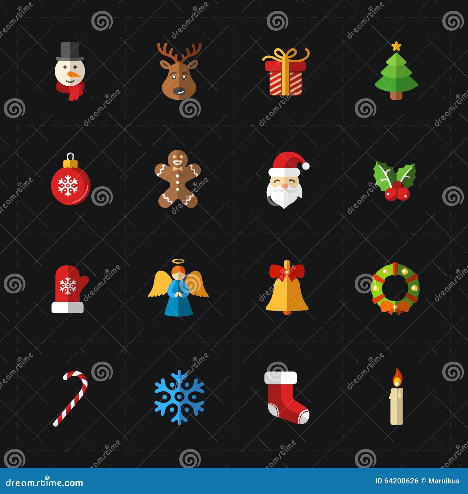 Colección de los iconos del color de la Navidad - vector