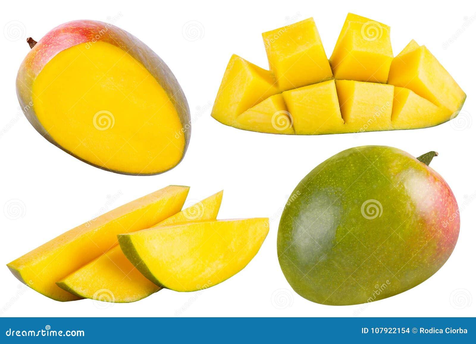 Colección De Mango Entero Y Cortado En Blanco Foto de archivo ... 211769692863