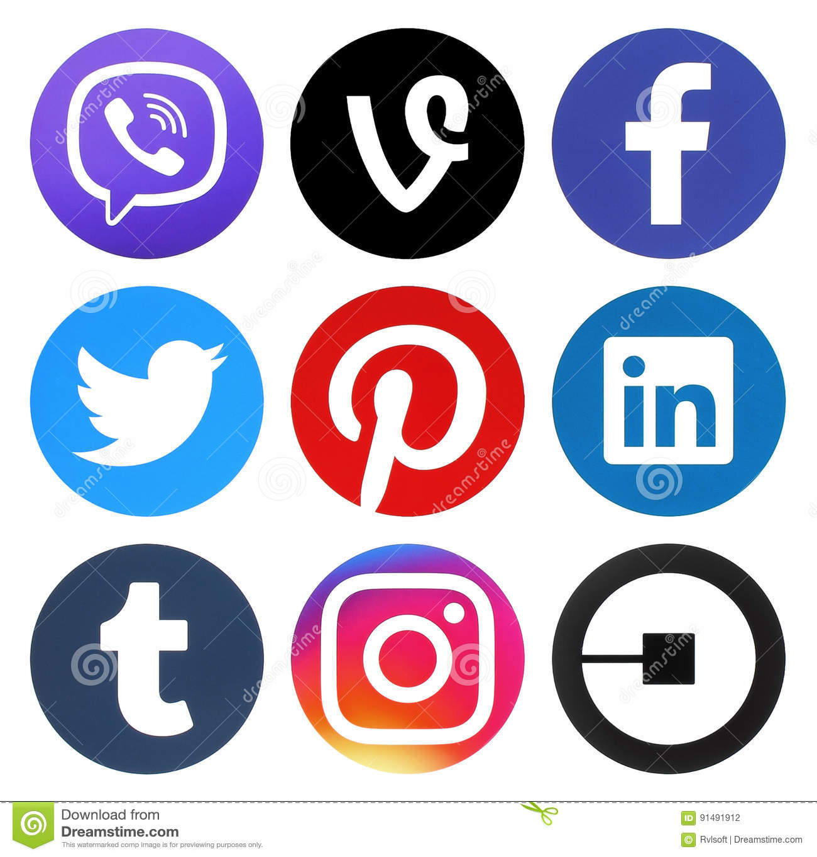 b37c14f701cd7 Colección De Medios Logotipos Redondos Sociales Populares Fotografía ...