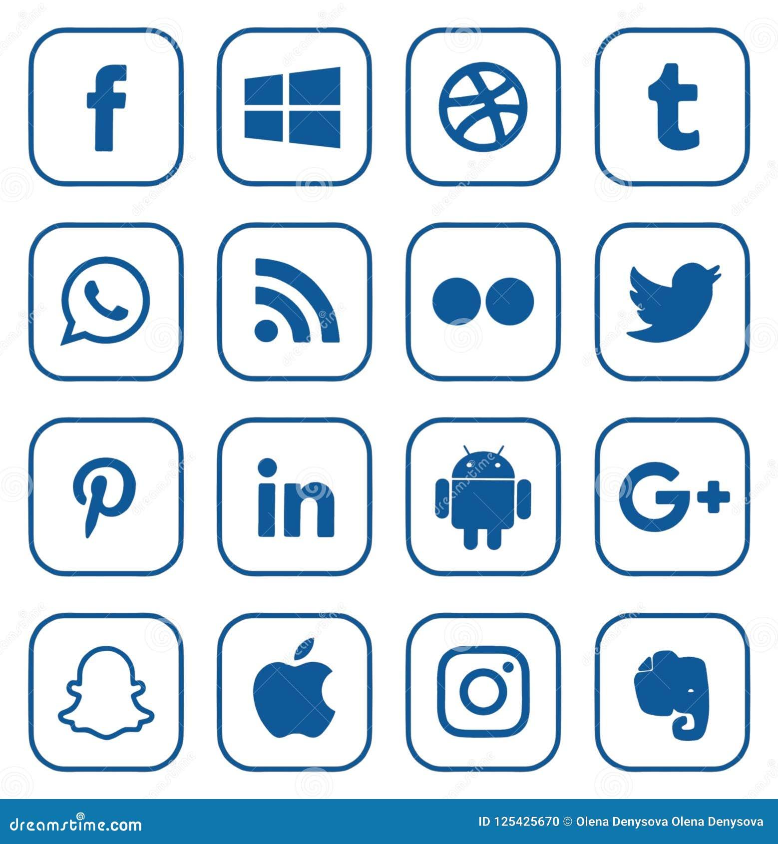 Colección de medios logotipos sociales populares