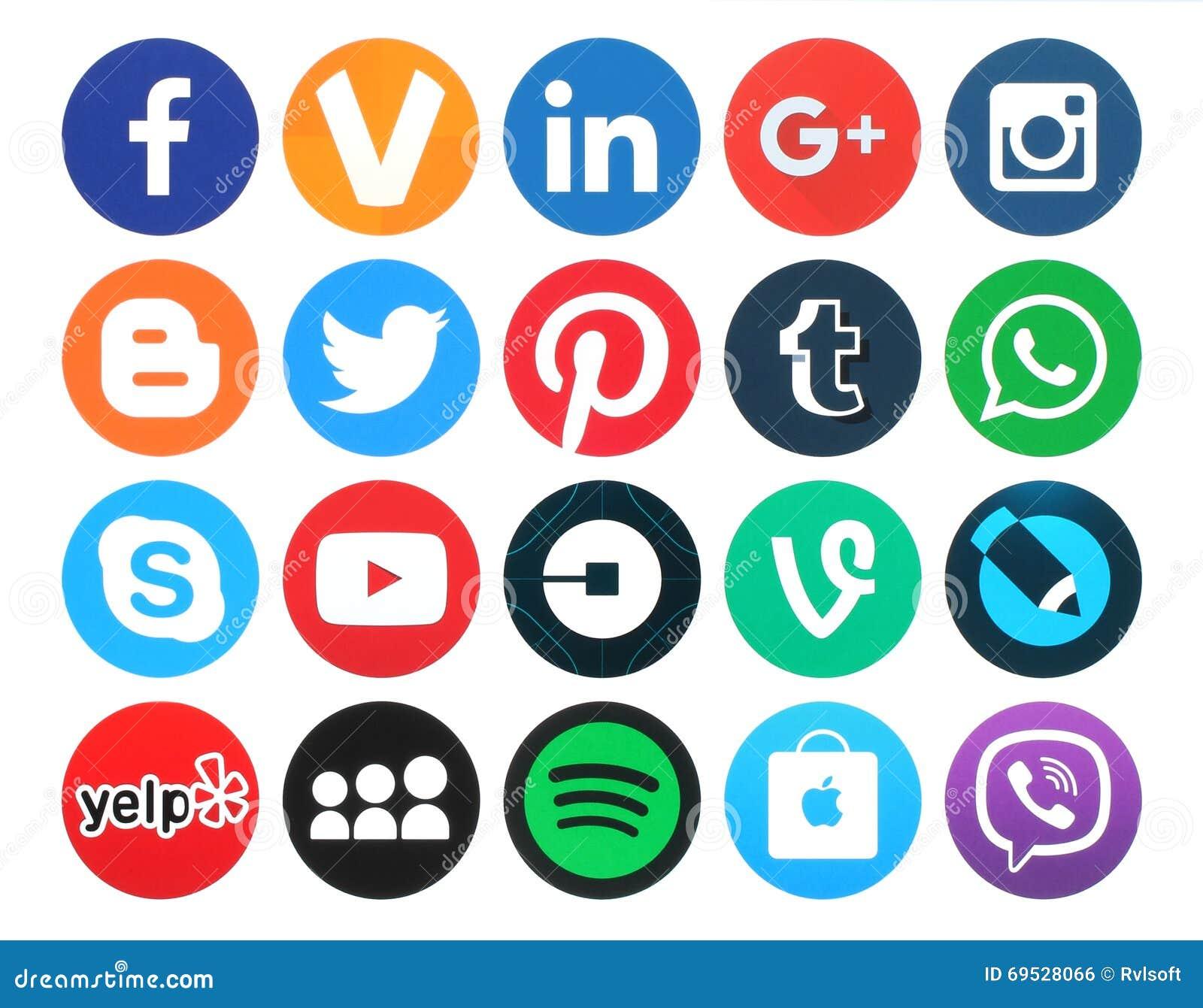 Colección de 20 medios logotipos sociales redondos populares