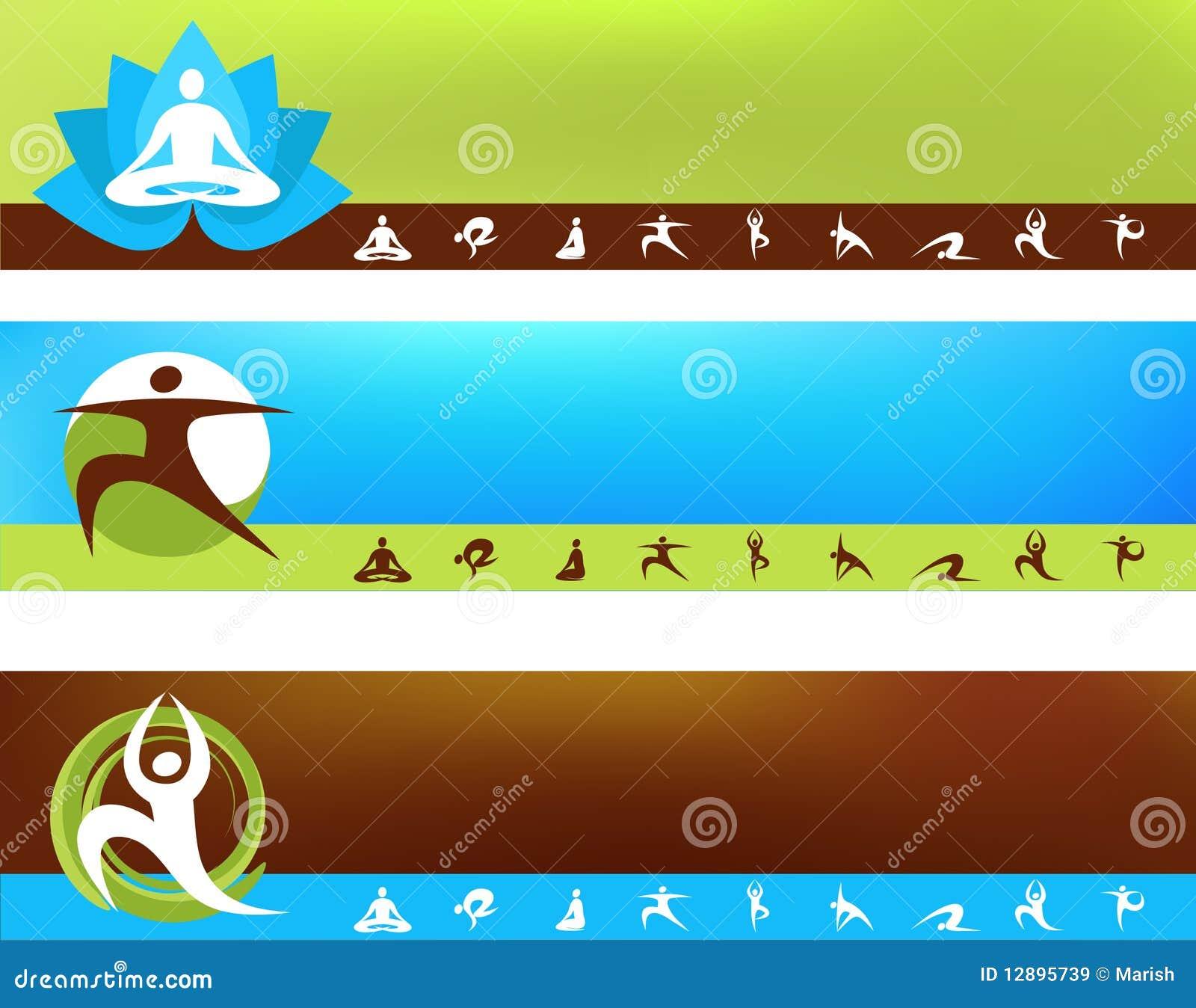 Colección de modelos de la yoga con insignia y los iconos