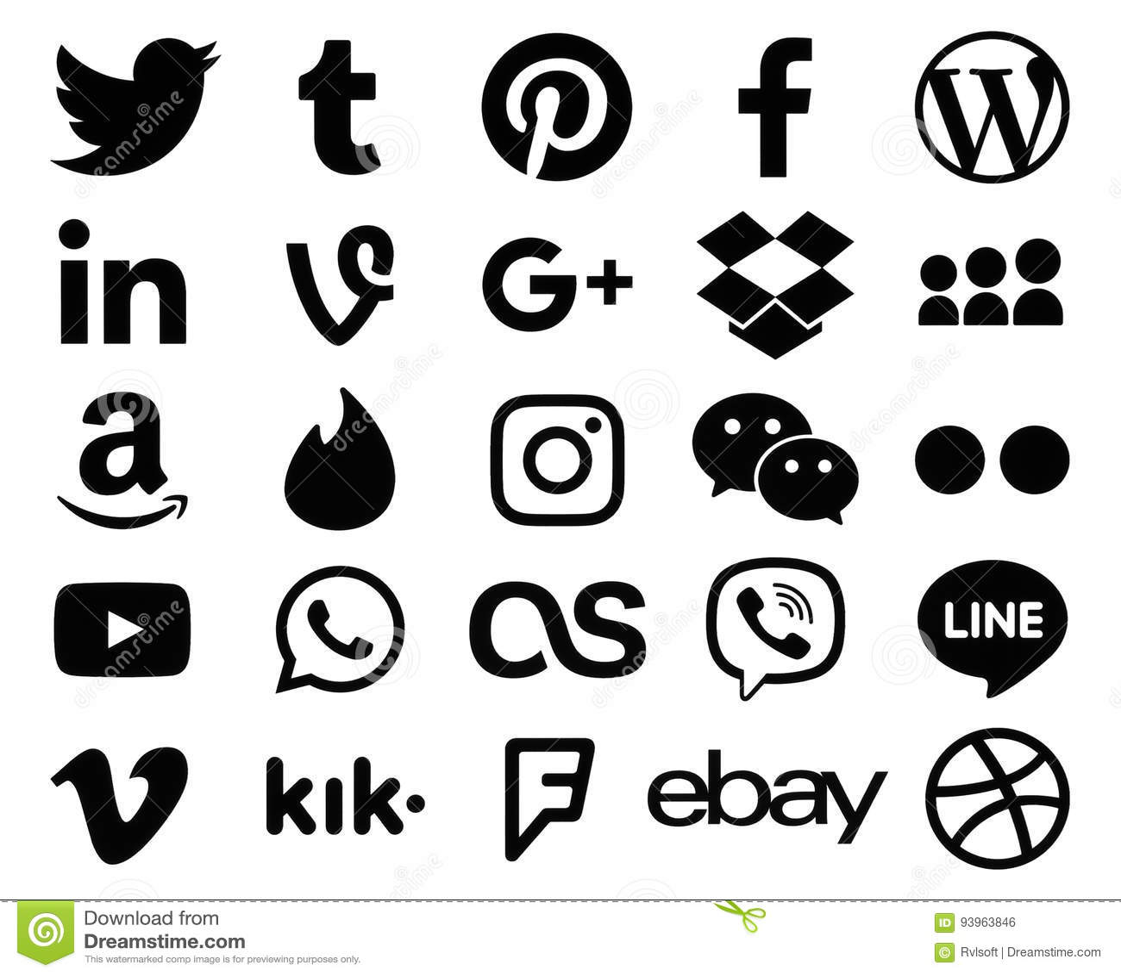 Colección de muestras negras populares del logotipo de medios iconos sociales