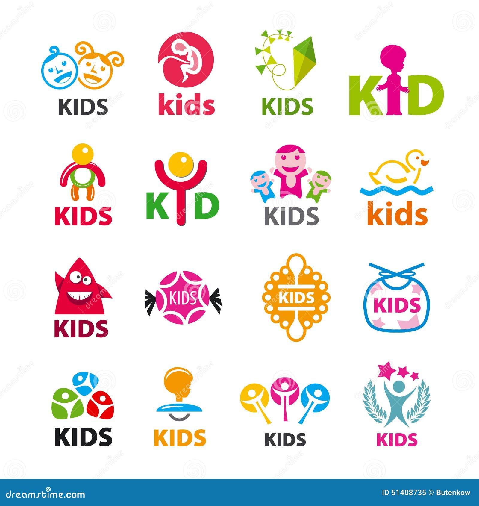 Colección de niños de los logotipos del vector