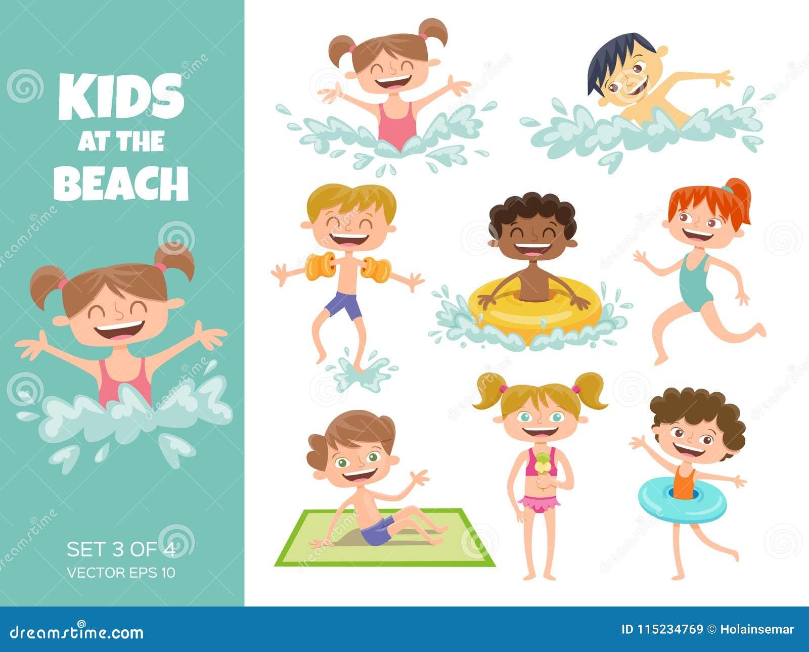 Colección De Niños Que Juegan En La Playa Aislador De Los Personajes