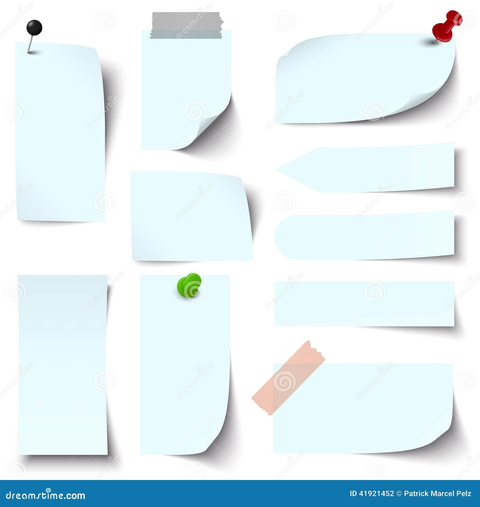 Colección de notas de papel azules claras