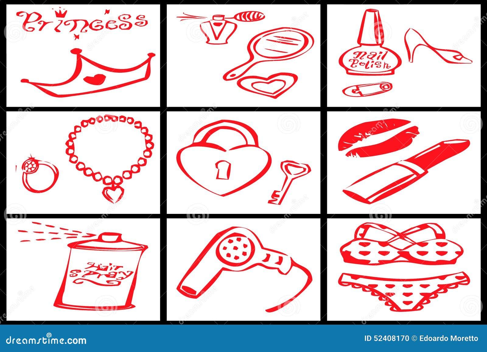 Colección de objetos rojos para una princesa de la mujer