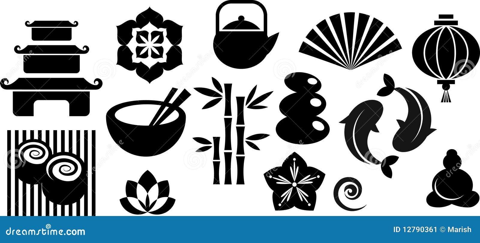 Colección de oriental e iconos e insignias del zen